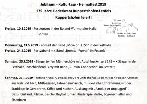 Programm Ruppertshofen 2019